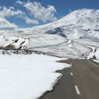 Approaching twin-peaked Mt Elbrus from the North