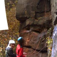 Oct 2009: Climbing (or cleaning) at Broadbottom (Christine Stark)
