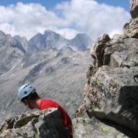 Summit of Piz Balzet looking towards Piz Badile (James Richardson)