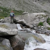Dave about to cross Cantun stream before falling in (James Richardson)