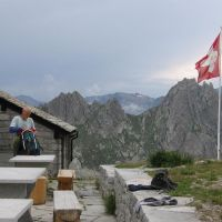 Dave packing back at Albigna Hut (James Richardson)