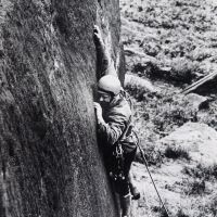 01 Bowden Black at Stanage (wall leading up to Hardings Superdirect finish), early 1970s
