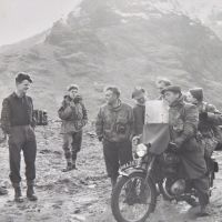 06 Glen Coe - Cliff and Teddy Wood on motorbike and other KMC members, 1950s