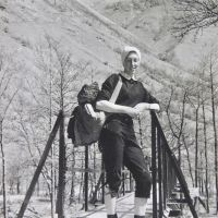 09 Milly Black at Glen Nevis footbridge (Scottish 4,000s walk) (Derek Seddon Collection)