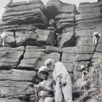15 David Sumerfield & Sandy Gregson at Stanage - KMC Sponsored Climbing Day 1974 (Derek Seddon Collection)