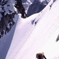 Peter following up the Spencer Couloir on the Aig de Blaitiere in the Chamonix Aiguilles (Jim Gregson)