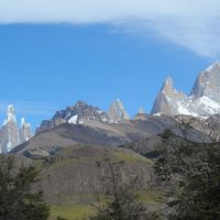 1) The Chalten Massif. Fitzroy right; Cerro Torre left. (Duncan Lee)