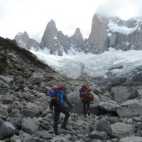 2) Colin and Dave approaching Laguna Sucia, with Aguja De L'S left (Duncan Lee)