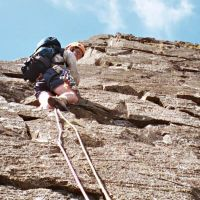 Midge on Mitre Buttress Direct (Virginia Castick)