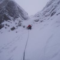 Dave Bish attempting an unidentified gully at the head of the Lost Valley (Roger Daley)