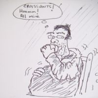 Craig bulking up for ascent of Gran Paradiso (original drawing by Jim) (Colin Maddison)