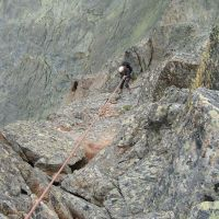 Descent - Duncan looking for somewhere to get the ropes stuck (Colin Maddison)