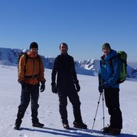 James Meakin, Stuart Hurworth, Stevie Graham on Aonach Mor, Ben Nevis behind (Andy Stratford)