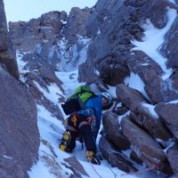 Steve Graham on P1 of The Grooved Rib III,4 at Sneachda (Andy Stratford)