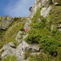 Craig belayed by Vic on Bramble Buttress (Gareth Williams)