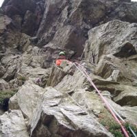 Andy amongst the overhangs on Haste Not, White Ghyll. (Colin Maddison)