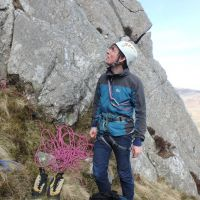 James at the start of Pinnacle Rib Route (Tryfan East Face) (Dave Shotton)