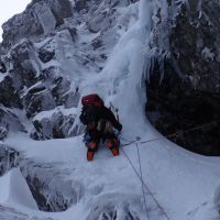 Andy on the crux icicle of Minus Three Gully (IV,5) (Steve Graham)
