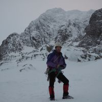 Jim in front of a very icy North East Buttress (Andy Stratford)