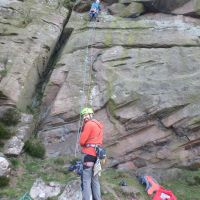 Andy happily belaying James on Jeffcoat's Buttress (Dave Shotton)