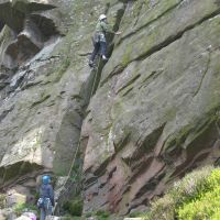Dave Wyley reaches the first gear placement on Jeffcoats Chimney (Roger Dyke)