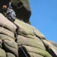Jo Cowley above the crux of Prow Cracks (Roger Dyke)