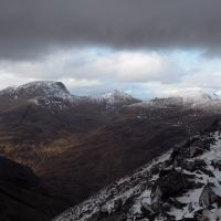 Ben Nevis (left), Carn Mor Dearg and Aonach Beag from Binean Mor