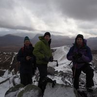 Dave Broadhead, James Meakin and JIm Symon on Binean Mor with Buchaille Etive Mor in Glencoe just behind James's hood