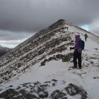 Descending the South Ridge of Binean Mor