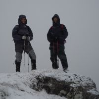 Geri and Dave on the summit of Meall Cumhan, Glen Nevis