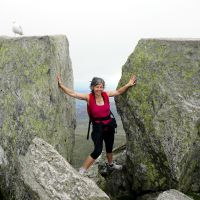 Caro between Adam and Eve on Tryfan (Dave Wylie)