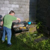 Jim tending the barbecue at Ty Powdwr (Dave Wylie)