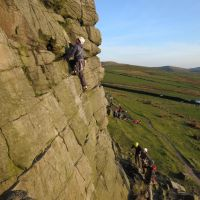 James leading Chockstone Chimney (VD) (Mark Griffiths)
