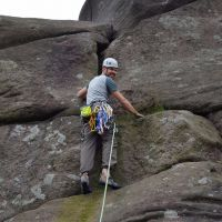 Ryan on his first gritstone lead - the excellent Boomerang (VD) (Daniel O'Brien)