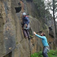 James M deploys a protective net for his ascent of Elderberry Slab (Daniel O'Brien)