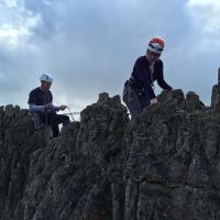 Annie Nye with James Meaking on the belay at Harborough Rocks (Emily Pitts)