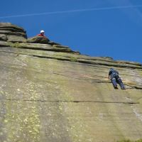 Joe taking Lester up Fairy Steps VS 4a with comprehensive ropework! (Roger Dyke)
