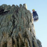 "John leading ""Capstan's Arete"" on Beaufort Buttress (Dave Wylie)"