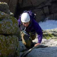 "Fiona seconding ""Capstan's Arete"" on Beaufort Buttress"