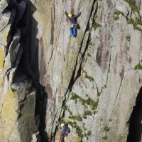 "Gareth leading on ""Quatermass"" in Deep Zawn (Dave Wylie)"