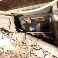 Andy in the underworld (plumbing in dehumidifier overflow pipe)