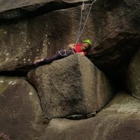 Todys Wall - Emily Having Fun (Always worth having a lie down before the crux!)
