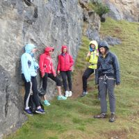 Sheltering from the rain at Trevor Rocks