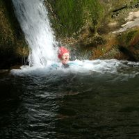 Midge takes a shower in Janet's Foss (Dave Wylie)