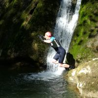 Midge takes the plunge into Janet's Foss (Dave Wylie)
