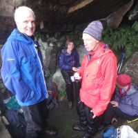 Enjoying the lunchtime comforts of Laddow cave (Dave Shotton)