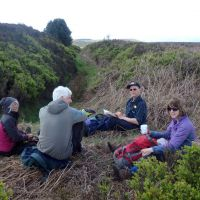 Elevenses beside the ancient earthwork of Bar Dyke