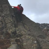 Fiona in action scrambling on Daear Dhu scramble - Moel Siabod (Emily Pitts)