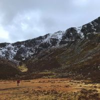 Rob Clark approaching moel siabod Daear Dhu ridge scramble (Emily Pitts)