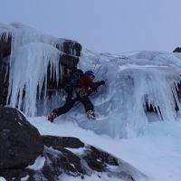 Mountain Action. - Highly Commended - Jared Kitchen enjoying the ice on North Gully, III,  Lurchers